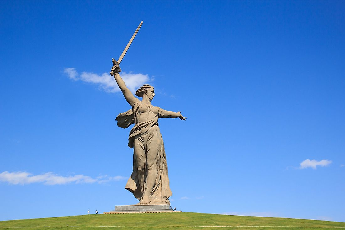 The Motherland Calls statue located in Volgograd, Russia.