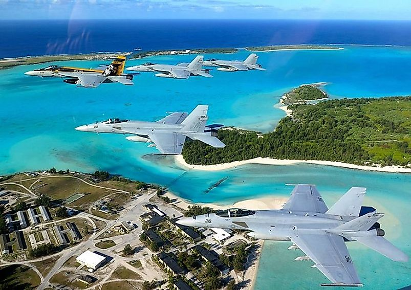 U.S. Navy fighter jets fly over Wake Island.