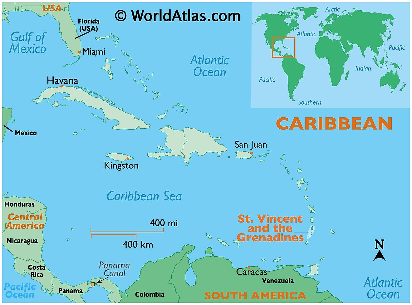 Map showing location of St Vincent and the Grenadines in the world.
