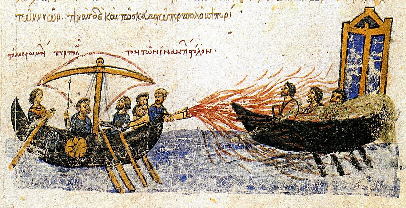 Greek fire, first used by the Byzantine Navy during the Arab–Byzantine Wars.