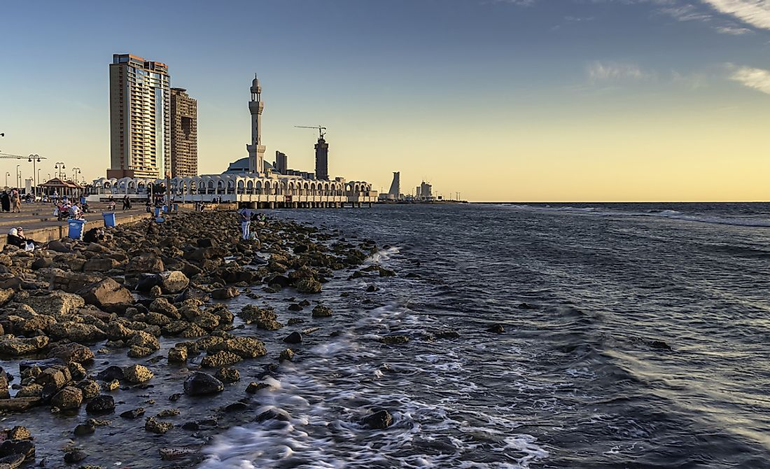 Jeddah, Saudi Arabia's second largest city, on the Red Sea. Editorial credit: drpyan / Shutterstock.com.