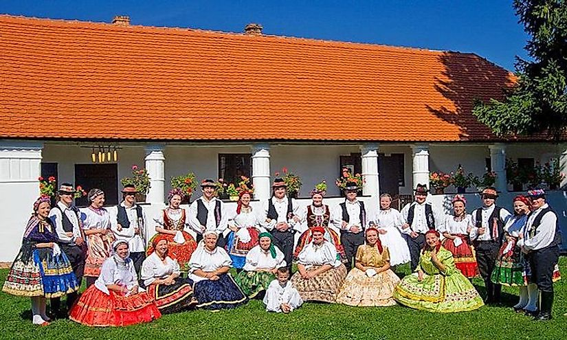 Hungarians dressed in folk costumes in Southern Transdanubia, Hungary.