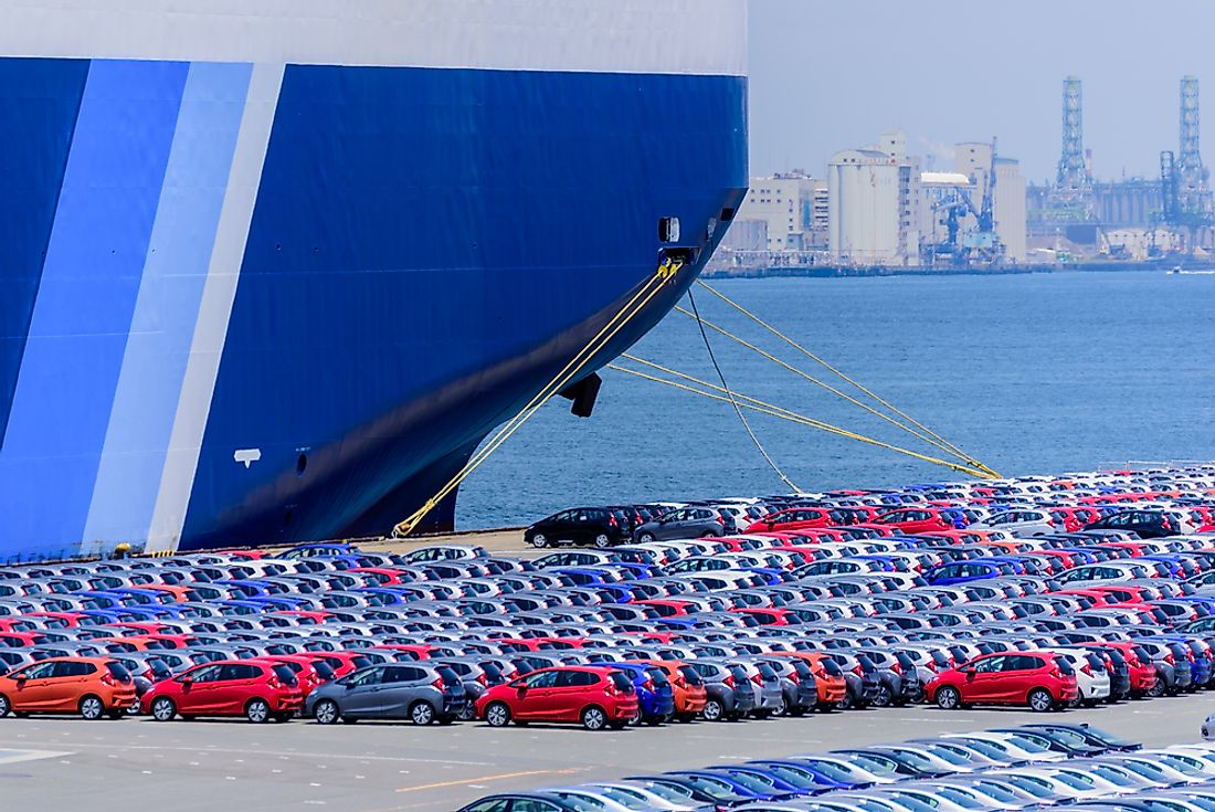 Japan is among the world's largest exporters with the top export being cars.