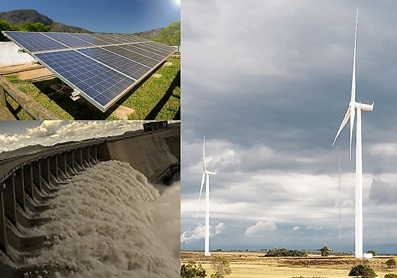 Solar panel in the South African highlands; hydro power dam near Norvalspont; wind farm near Jeffreys Bay, South Africa.