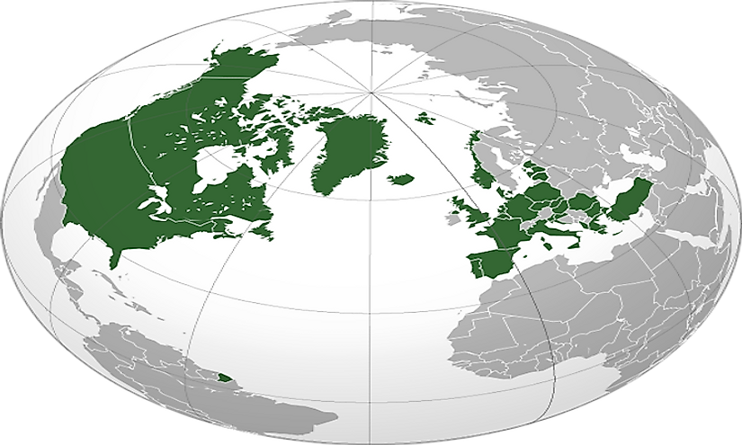 NATO nations marked in green.