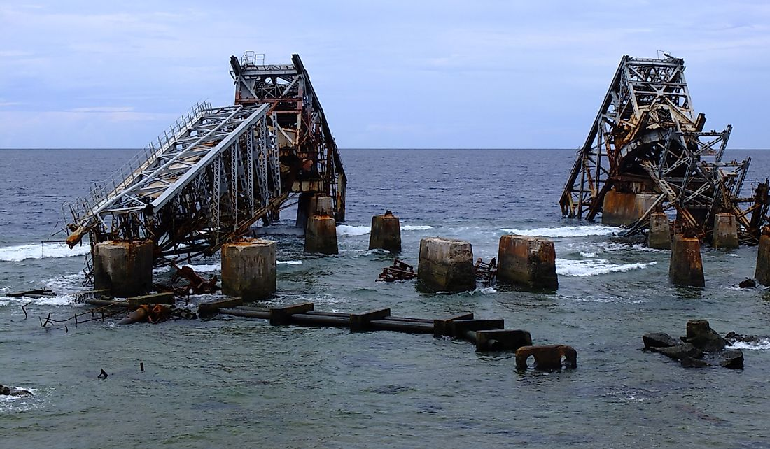 A phosphate loading station in the coastal waters of Nauru.