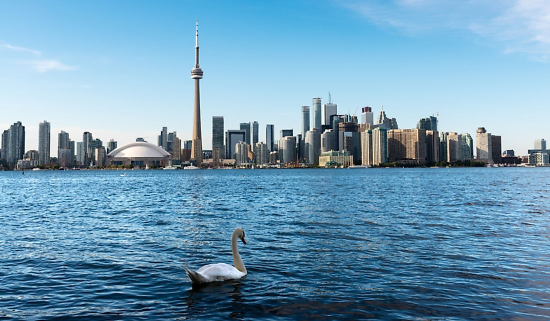 The city of Toronto on the shores of Lake Ontario.
