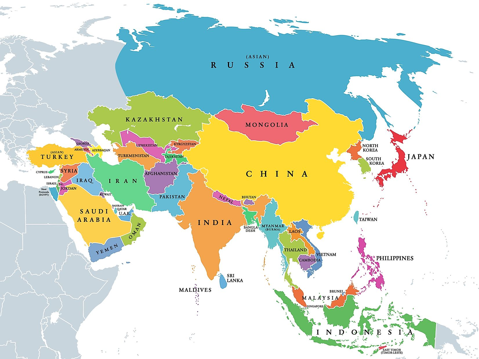 What Are The Five Regions Of Asia Worldatlas