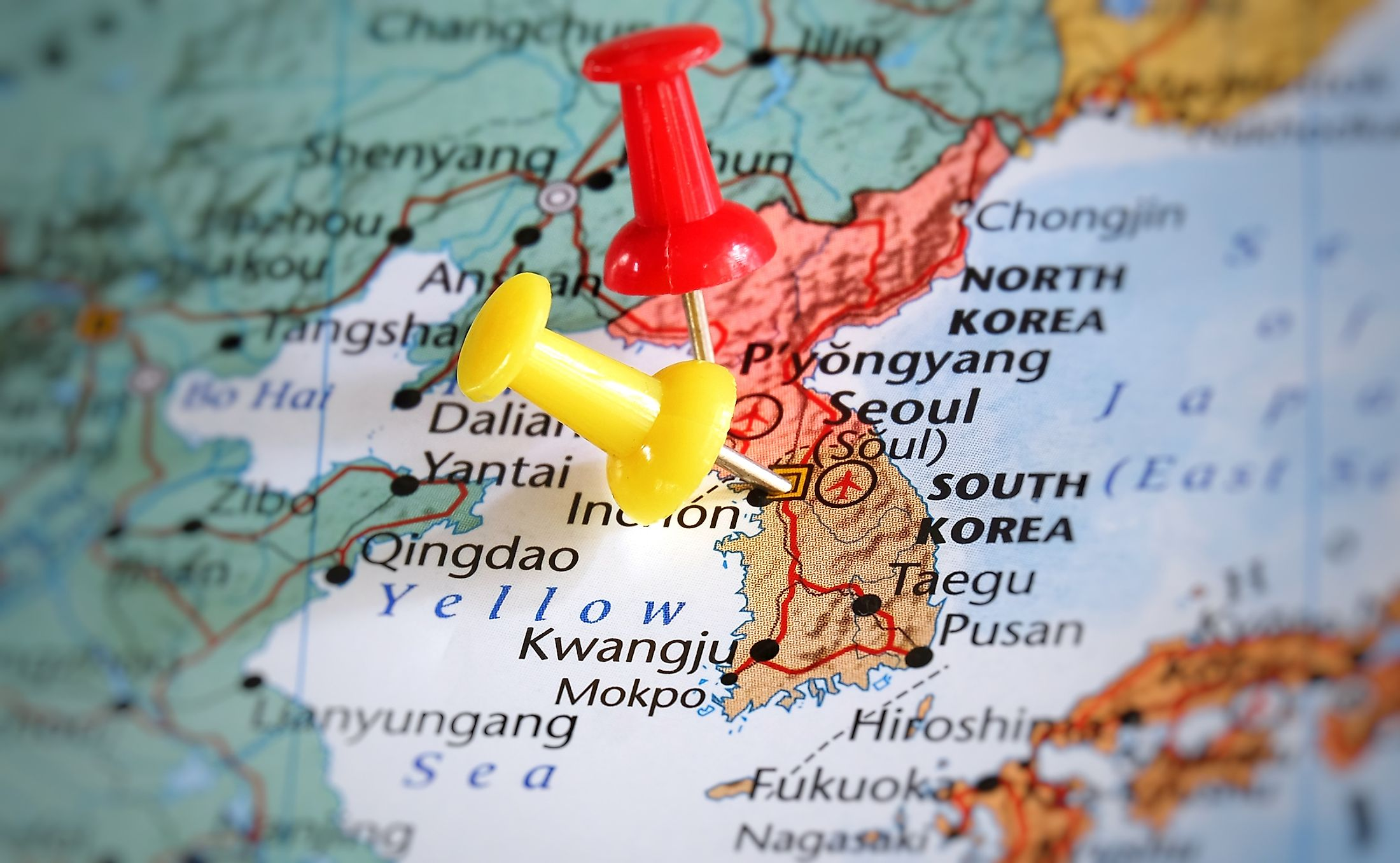 Korea was split in half after World War II by the USSR and United States