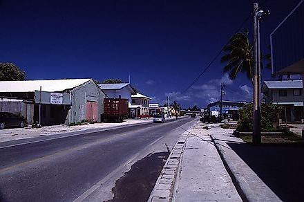 Dowtown Majuro on the atoll of the same name is the capital and largest city of the Marshall Islands.