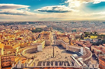 An aerial view of Vatican City, the world's smallest country.