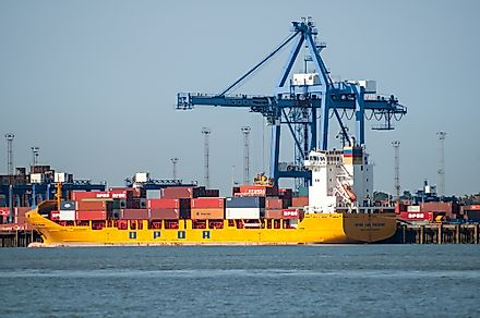 The port of Felixstowe controls more than 42% of UK's containerized trade. Editorial credit: TasfotoNL / Shutterstock.com