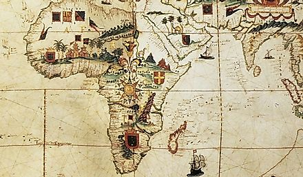 A map, published in Portugal in 1623, showing a representation of Africa as understood by colonizers.