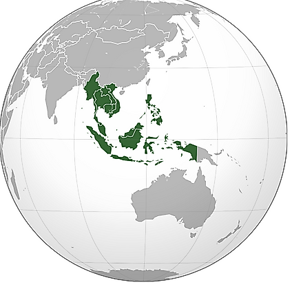 The globe representing the Southeast Asian nations in green.
