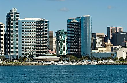 Hotel chains dot the skyline of San Diego, California.