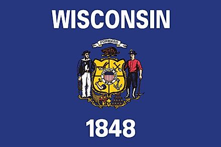 The state flag of Wisconsin.