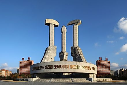 The monument to the founding of the Korean Workers' Party in Pyongyang.  Editorial credit: nndrln / Shutterstock.com.
