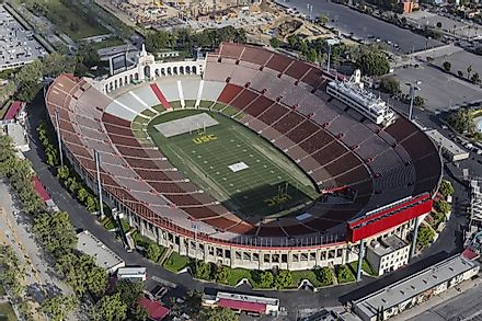 Los Angeles Memorial Coliseum is the current home of both the NFL's Los Angeles Rams and the University of Southern California (USC) Trojans.  Editorial credit: trekandshoot / Shutterstock.com