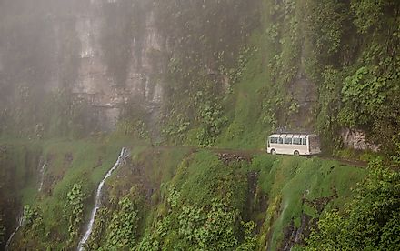 The North Yungas Road running along a steep Bolivian mountainside.