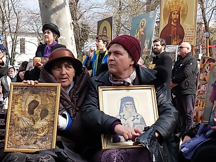 "Orthodox believers are praying during cultural manifestation ""The Icon - Window to God"" which marks the celebration of the Orthodoxy Sunday. Image credit: Gabriel Petrescu/Shutterstock.com"