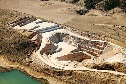 Open pit phosphate mine.