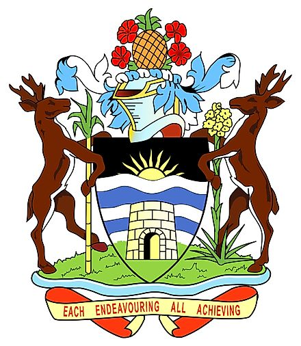 National Coat of Arms of Antigua and Barbuda is a pineapple representing the famous Antigua Black Pineapple.