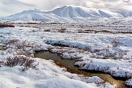 Mountainous tundra landscapes in the U.S. state of Alaska.