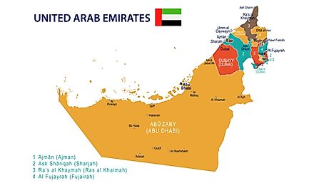 A map showing the emirates of the UAE.