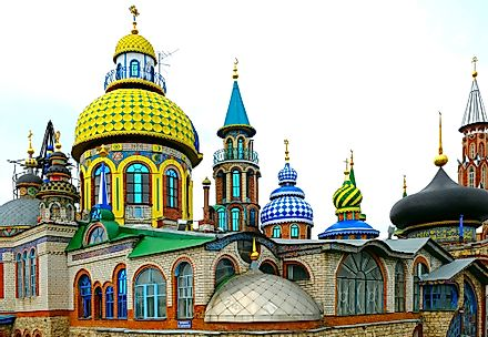 The Temple of All Religions located in Kazan, Russia includes an Orthodox church, a mosque, and a synagogue, among places for other types of worship.