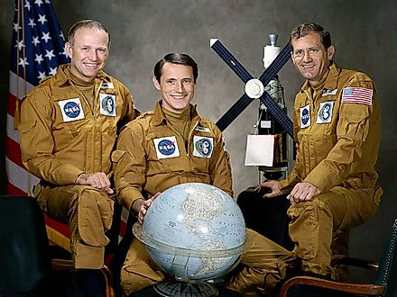 Gerald P. Carr, Edward G. Gibson, and William R. Pogue, the three man crew of Skylab involved in the mutiny.