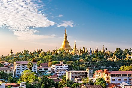 The skyline of Yangon, Myanmar. Myanmar ranks as the world's most generous country, with almost all of the population donating to charity.