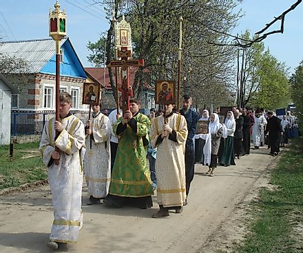 A Traditional Procession By The Members Of The Russian Orthodox Old-Rite Church