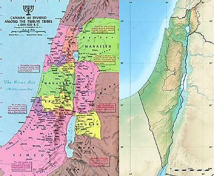 The 12 Tribes' respective territorial claims in Biblical times (left) relative to the geographic map of Israel today (right).