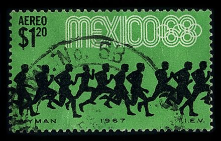A stamp commemorating the 1968 Olympic Games in Mexico. Editorial credit: MarkauMark / Shutterstock.com.