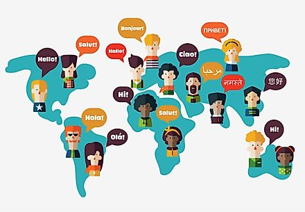 English, Spanish and French are spoken throughout the world.