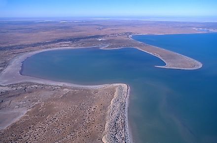 Lake Eyre, the largest lake by volume in Australia.