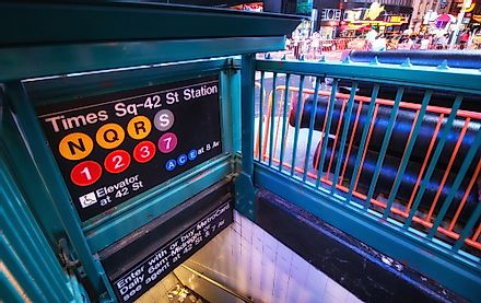 Some of the busiest subway stations in New York are in proximity of bustling Times Square.