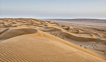 Linear sand dunes in Oman.