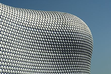 The unique exterior of the Bullring, Birmingham. The Bullring is one of the largest shopping centres in England.