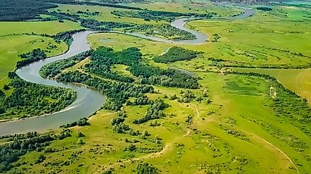 An aerial view of plains in Russia.