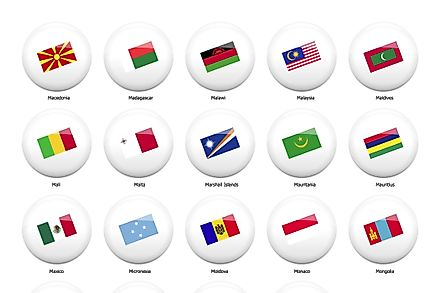 Some of the flags of the countries that start with the letter m.