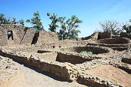 The Aztec Ruins National Monument preserves the ruins of an ancient Pueblan civilization.