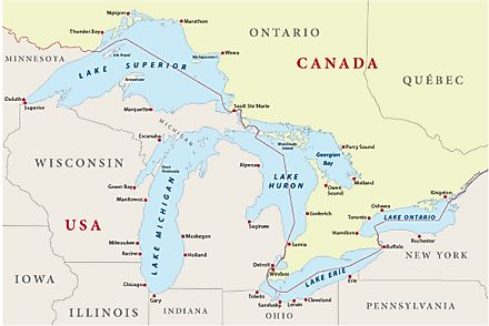 Map of the Great Lakes.