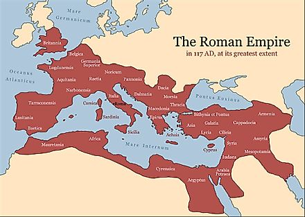 The Roman Empire was at its greatest extent in 117 AD.