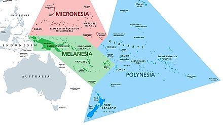 A map depicting Melanesia, Micronesia and Polynesia. Image credit: Peter Hermes Furian/Shutterstock