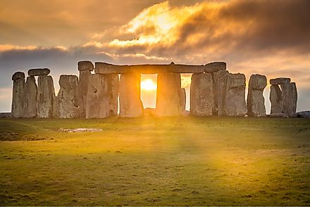 Stonehenge during sunset winter solstice