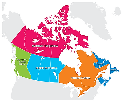 Map showing the 5 regions of Canada. Image credit: Rainer Lesniewski/shutterstock.com