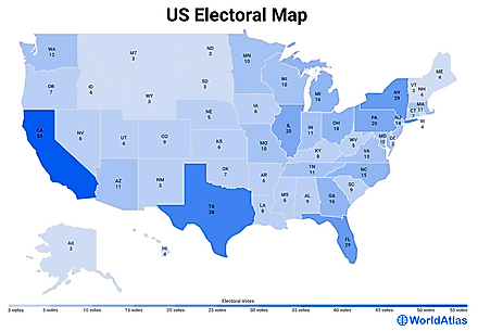 Infographic: Map of US Electoral College votes by state.