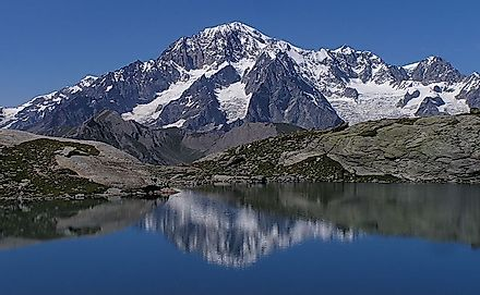 "Monte Bianco, meaning ""White Mountain"" is the highest mountain in Italy"
