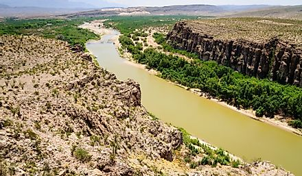 The Rio Grande in Big Bend National Park separating the US state of Texas from the Mexican state of Chihuahua.